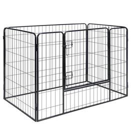 vidaXL Hondenren met 4 panelen staal