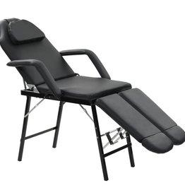 vidaXL Gezichtsbehandelstoel draagbaar 185x78x76 cm kunstleer zwart