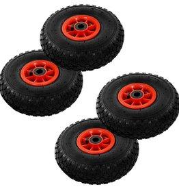 vidaXL Steekwagenwielen 3,00-4 (260x85) rubber 4 st