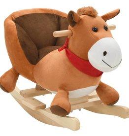 vidaXL Hobbeldier paard met rugleuning 60x32x50 cm pluche bruin