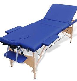 vidaXL Massagetafel opvouwbaar 3 delen (hout, blauw)
