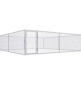 vidaXL Hondenkennel voor buiten 4x4 m gegalvaniseerd staal