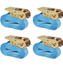 vidaXL Spanbanden 0,8 ton 6mx25mm blauw 4 st