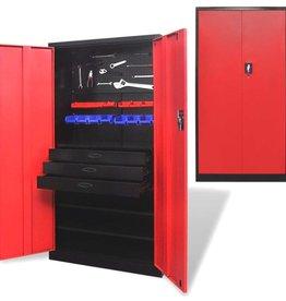 vidaXL Metalen gereedschapskast met uitneembare gereedschapskist zwart-rood