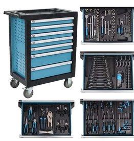 vidaXL Gereedschapstrolley met 270 gereedschappen staal blauw