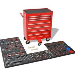 vidaXL Gereedschapswagen met 1125 gereedschappen rood staal