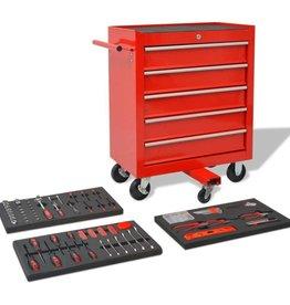 vidaXL Gereedschapswagen met 269 gereedschappen rood staal