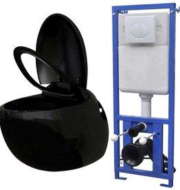 vidaXL Hangend ei-design toilet met ingebouwde stortbak zwart