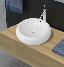 vidaXL Luxe keramische wasbak rond met overloop 50 x 50 cm (wit)