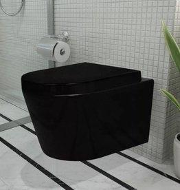 vidaXL Wandtoilet keramiek zwart met zachtsluitend deksel