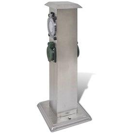 vidaXL Buitenstopcontact op zuil met tijdschakelaar (roestvrij staal)