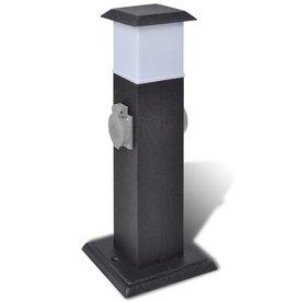 vidaXL Buitenstopcontact op zuil met lamp (zwart)