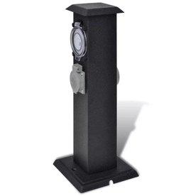 vidaXL Buitenstopcontact op zuil met tijdschakelaar (zwart)