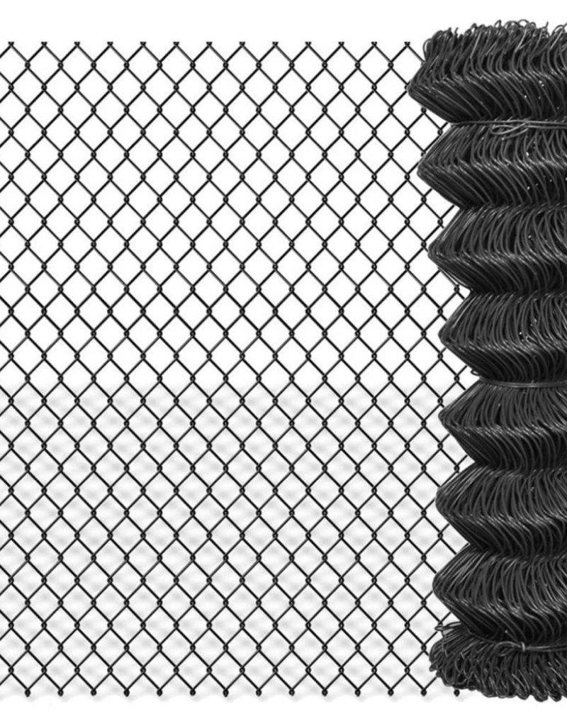 vidaXL Ketting hekwerk 25x1,25 m staal grijs