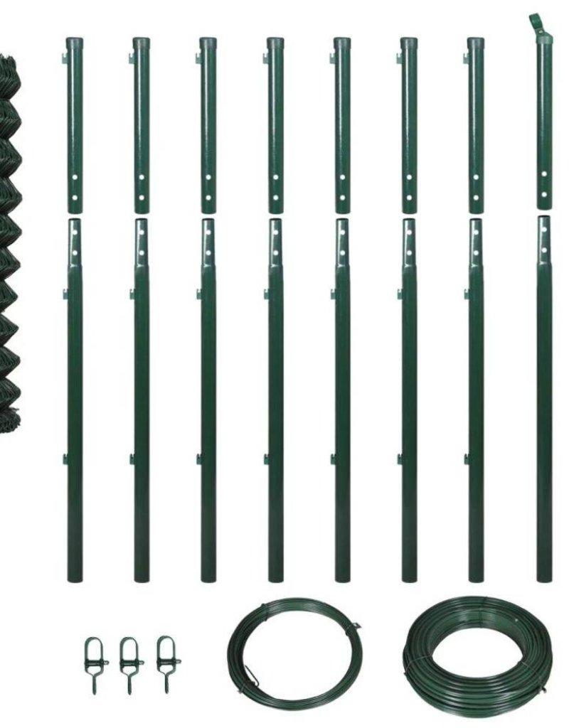 vidaXL Gaashek set met palen 1,97x15 m groen
