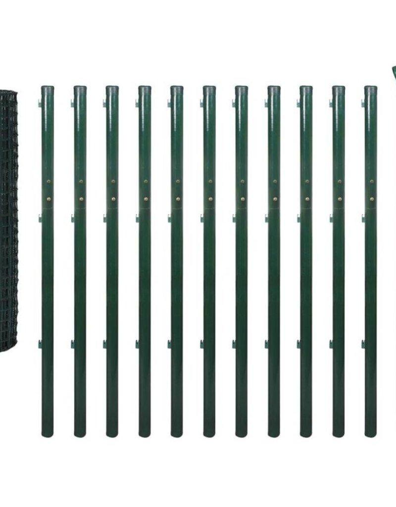 vidaXL Euro hek set 25x1,7 m staal groen