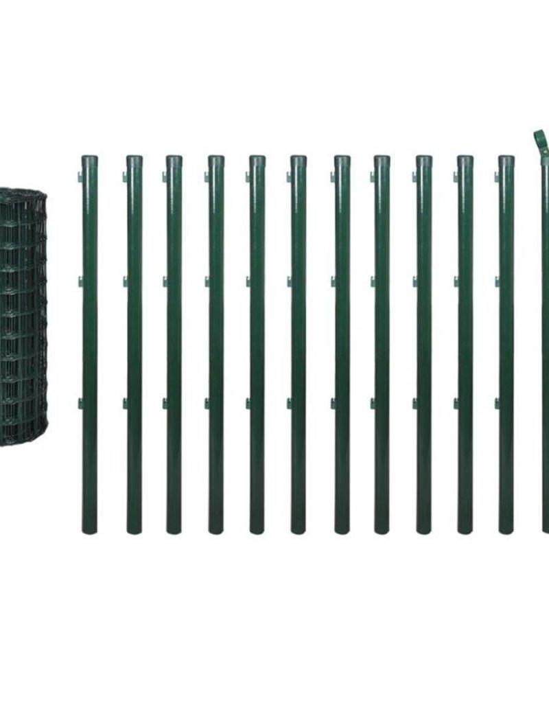 vidaXL Euro hek set 25x1,5 m staal groen
