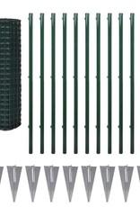 vidaXL Euro hek set met grondpennen 25x1,7 m staal groen
