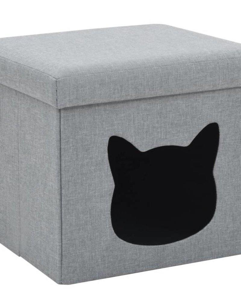 vidaXL Kattenbed inklapbaar 37x33x33 cm kunstlinnen grijs