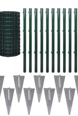 vidaXL Euro hek set met grondpennen 25x0,8 m staal groen