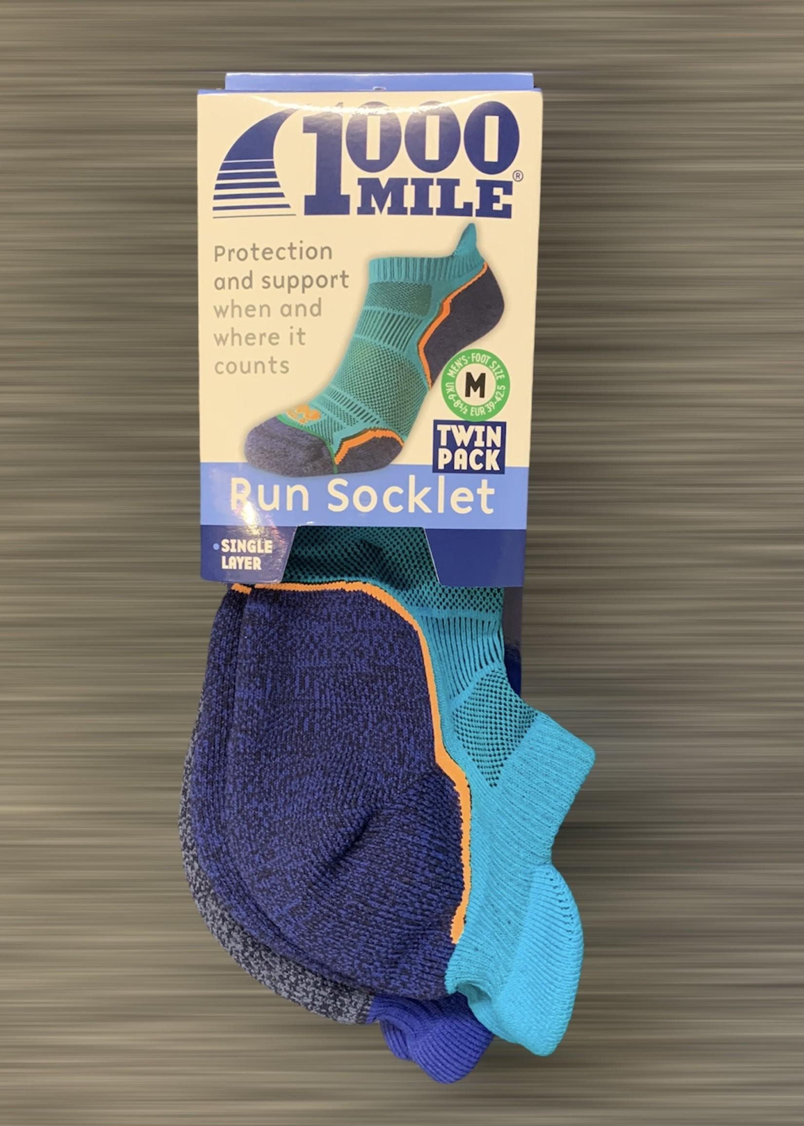 1000 mile 1000 Mile Run Socklet Twin Pack - Mens