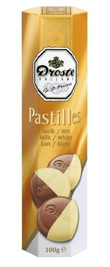 Droste Droste Chocolade Pastilles Koker Melk/Wit 100 Gram