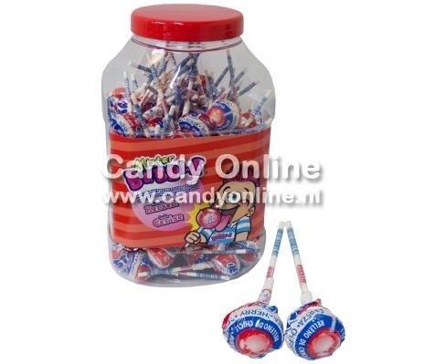 Image of Fiesta Fiesta Mister Bubble Gum Lolly's Cherry 100 Stuks 78148775