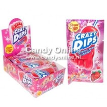 Chupa Chups - Crazy Dips Aardbei Lolly + Knetter 24 Stuks