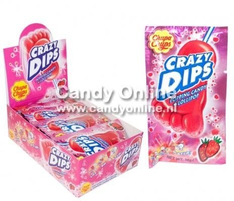 Chupa Chups Chupa Chups - Crazy Dips Aardbei Lolly + Knetter 24 Stuks