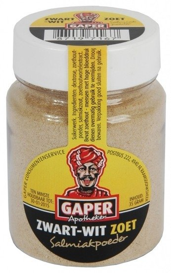 Gaper Gaper Zwart Wit Zoet Salmiakpoeder 30 Gram 24 Stuks