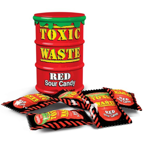 Toxic Waste Toxic Waste Red Sour Candy Drum 42 Gram 12 Stuks