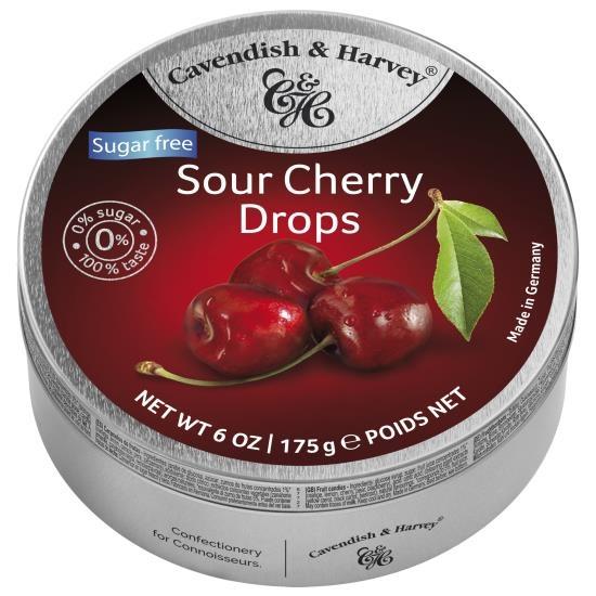 Image of Cavendish & Harvey Cavendish & Harvey - Sour Cherry Drops Suikervrij 175 Gram 92234680