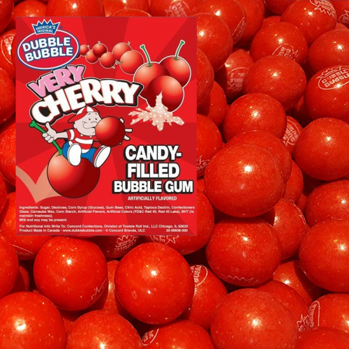 Dubble Bubble Dubble Bubble - Very Cherry Candy-Filled Bubble Gum Balls 1 Kilo
