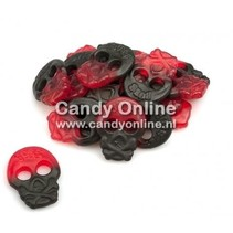 Bubs - Godis Raspberry/Licorice Skulls 4 Kilo