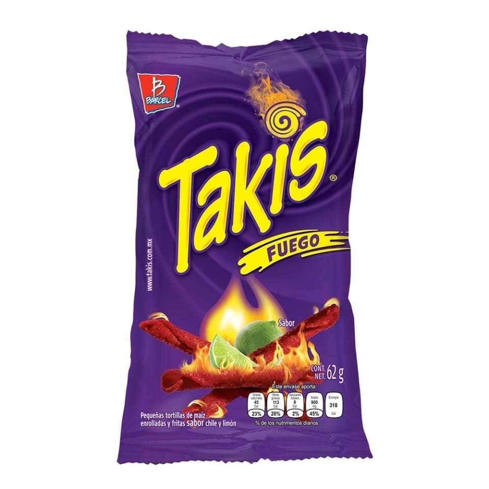 Takis Takis - Fuego Hot Chili Pepper & Lime Tortilla Chips 62 Gram