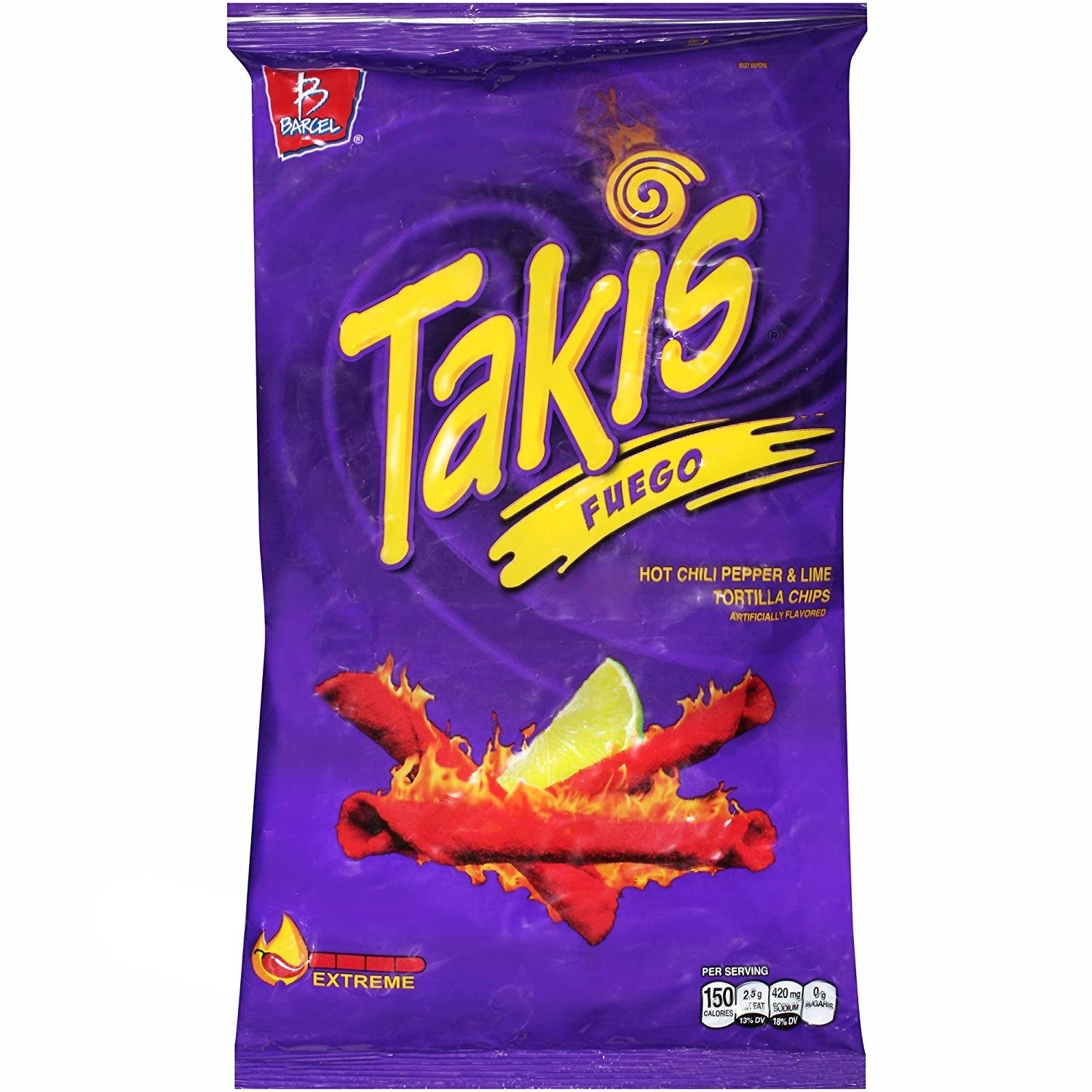 Takis Takis - Fuego Hot Chili Pepper & Lime Tortilla Chips 113 Gram