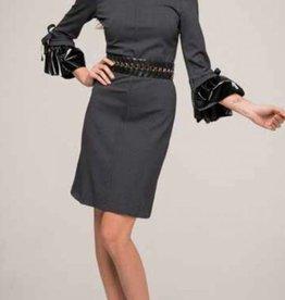 Roberta Biagi Kleed met lederlook mouwen