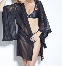 Something Wicked Kimono - Jade striped mesh- Zwart