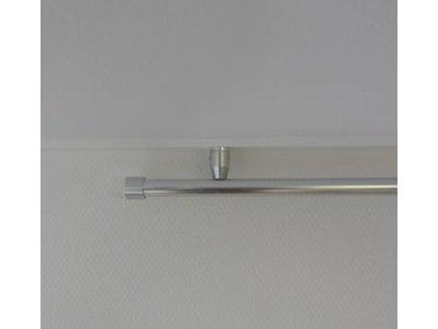 Ophangsysteem - rond aluminium profiel - voor haken en ogen. Geschikt voor gordijnen en vitrages met plafond steunen.