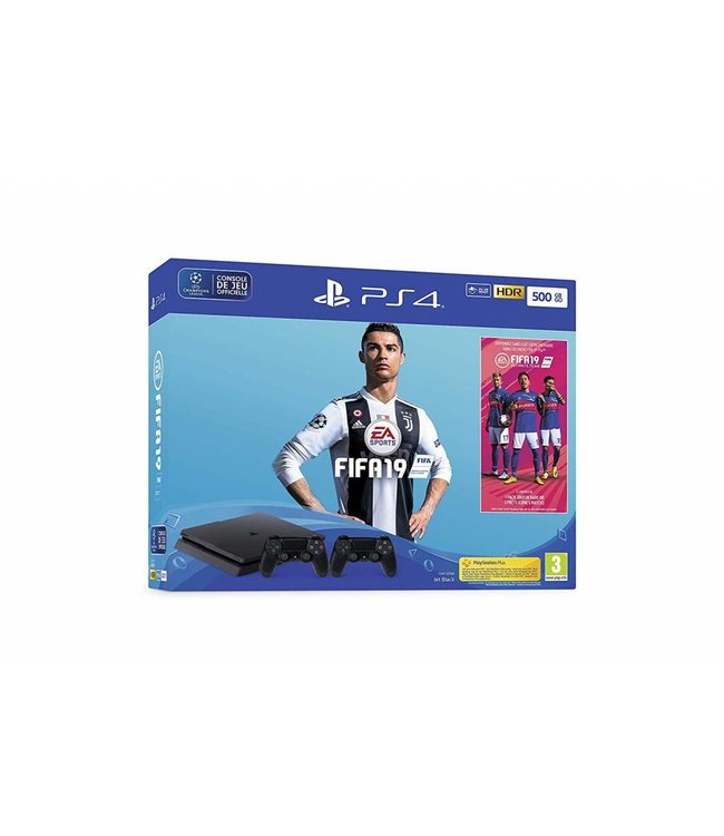 Sony Console PS4 Slim 500Go + Fifa 19 + 2 Manettes
