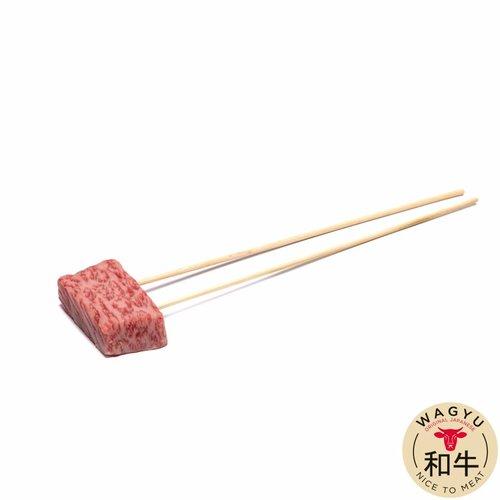 Japanse Wagyu - Het meest exclusieve rundvlees van de wereld Nikutori Japanse Wagyu mini steak op spies - 30gr