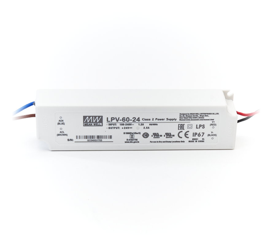 LED Driver Meanwell Voeding 60W | 12V - 24V | 5A - 2,5A
