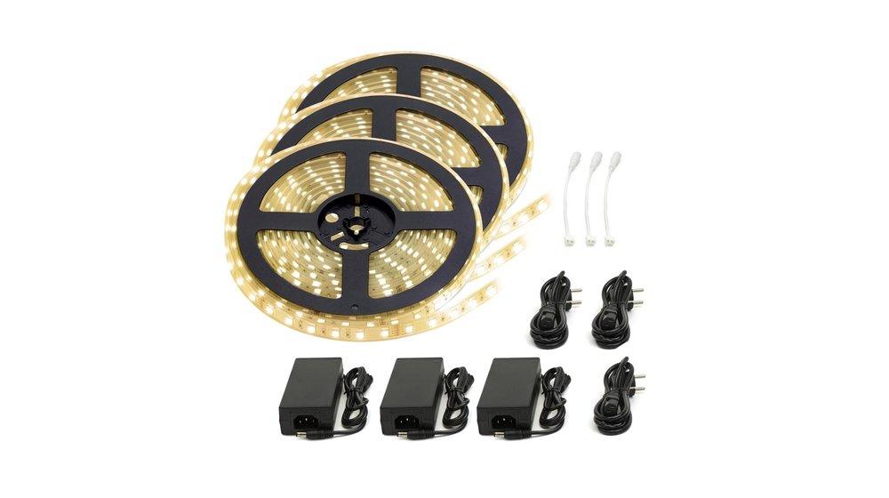 LED Strip Warm Wit | IP20 | 120 Leds p/m | 15 meter (3x 5 meter) | 12V - 24V
