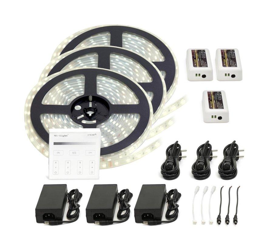 LED Strip Helder Wit   IP20   120 Leds p/m   15 meter (3x 5 meter)   12V - 24V