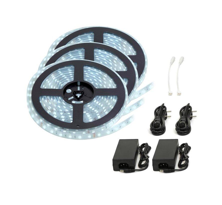LED Strip Koud Wit | IP20 | 60 Leds p/m | 15 Meter (3x 5 meter) | 12V - 24V