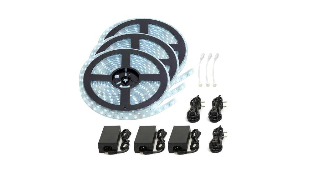 LED Strip Koud Wit | IP20 | 120 Leds p/m | 15 Meter (3x 5 meter) | 12V - 24V