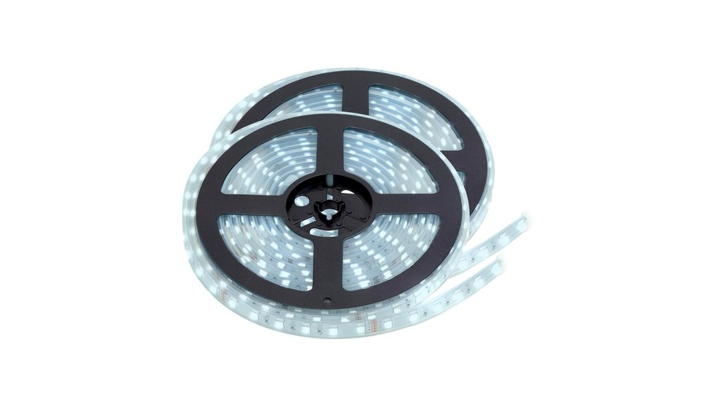 LED Strip Koud Wit | IP68 Waterdicht | 60 Leds p/m | 10 Meter (2x 5 meter) | 12V - 24V