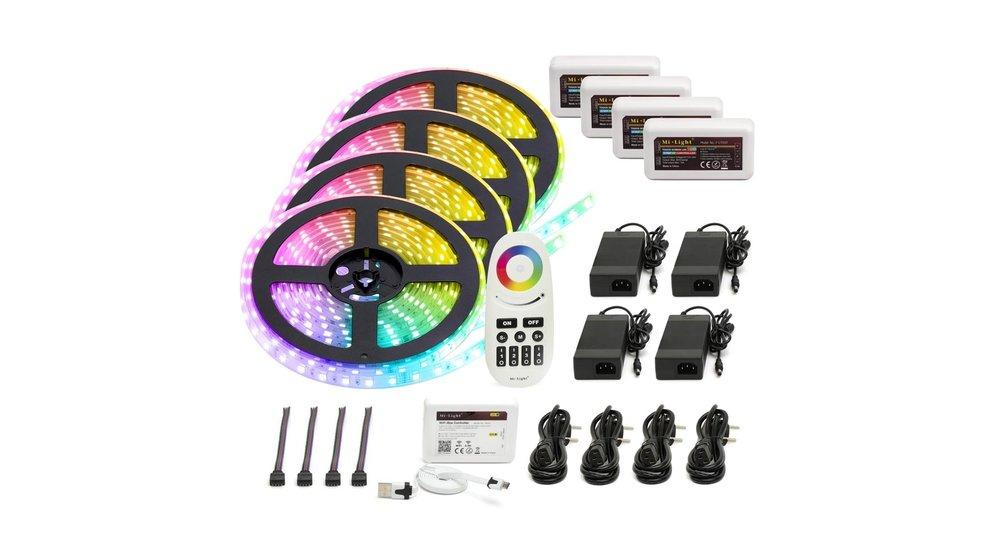 RGB LED Strip   IP20 (voor binnen)   20 Meter (4x 5 meter)   12V - 24V   Alle kleuren instelbaar