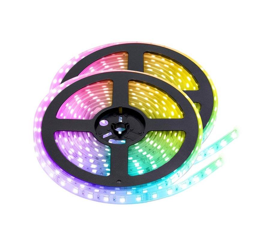 RGB LED Strip | IP68 (waterdicht) | 10 Meter (2x 5 meter) | 12V - 24V | Alle kleuren instelbaar