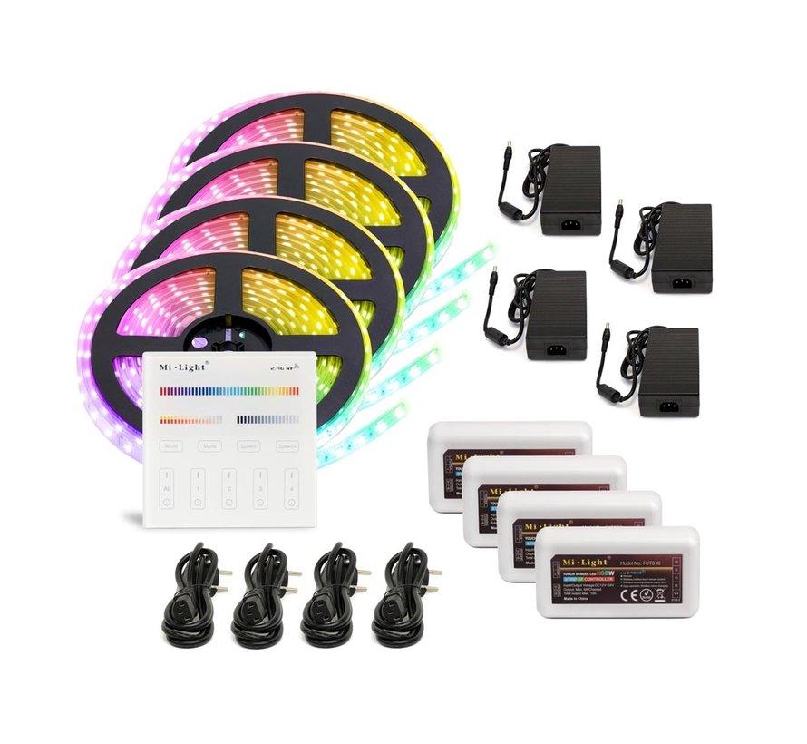 RGBW LED Strip  | IP20 (voor binnen) | 20 Meter (4x 5 meter) | 12V - 24 | Alle kleuren + Warm wit
